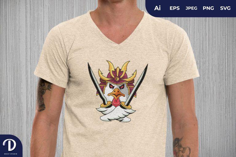 Samurai Rooster with Dual Katana for T-Shirt Design