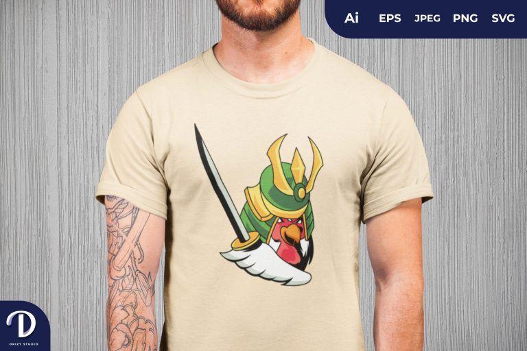 Samurai Rooster for T-Shirt Design