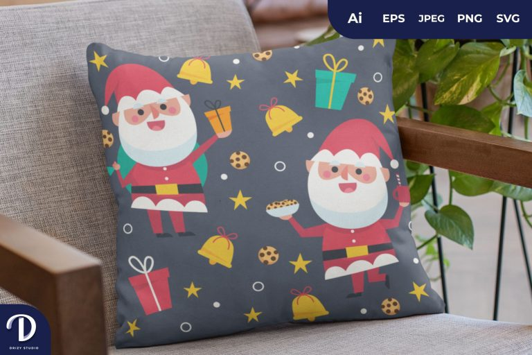 Preview image of Grey Santa Pattern for Pillow Design