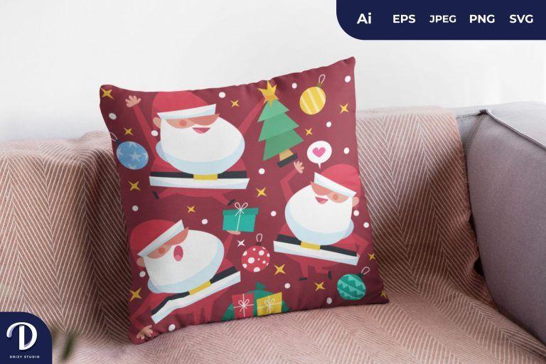 Red Santa Pattern for Pillow Design
