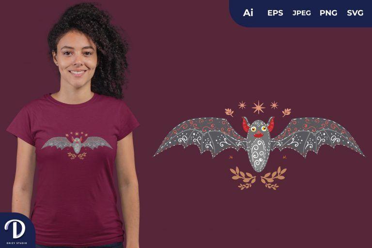 Scandinavian Bat Folk Art Illustration for T-Shirt Design