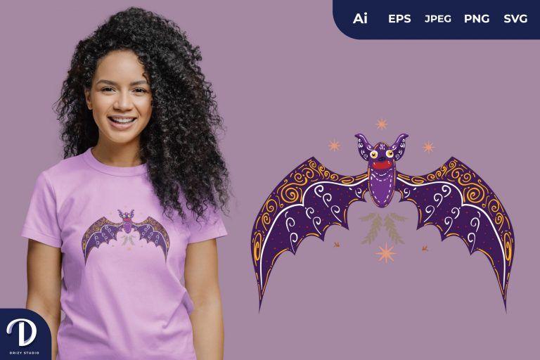 Purple Scandinavian Bat Folk Art Illustration for T-Shirt Design