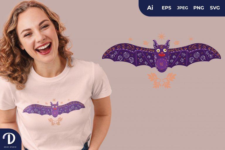 Grey Dazed Scandinavian Bat Folk Art Illustration for T-Shirt Design