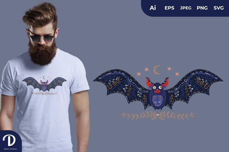 Blue Scandinavian Bat Folk Art Illustration for T-Shirt Design