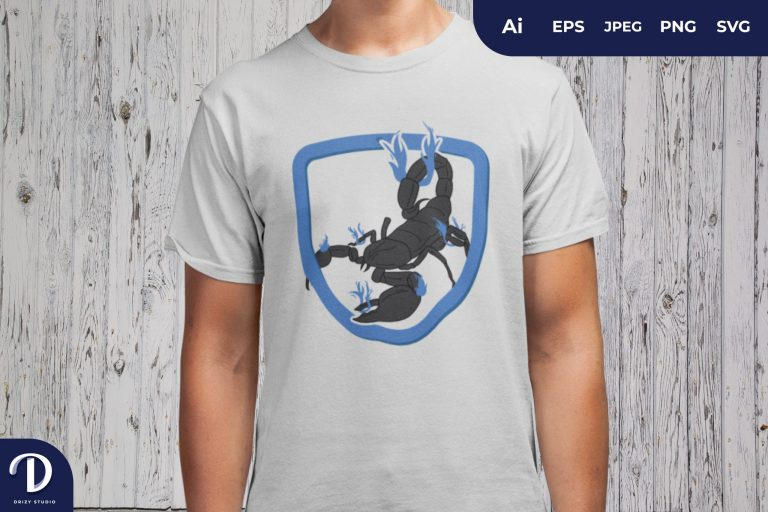 Blue Scorpion On Fire for T-Shirt Design