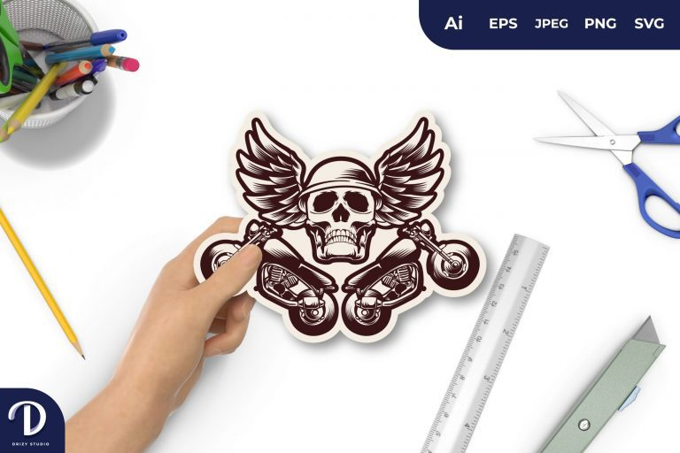 Preview image of Skull Motorcycle Biker for Sticker