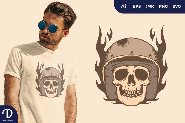 Fire Skull Rider for T-Shirt Design