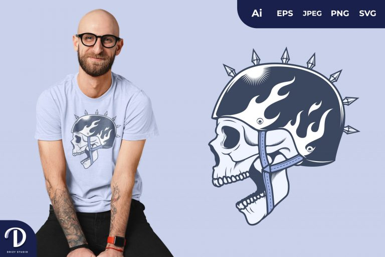 Preview image of Punk Skull Rider for T-Shirt Design