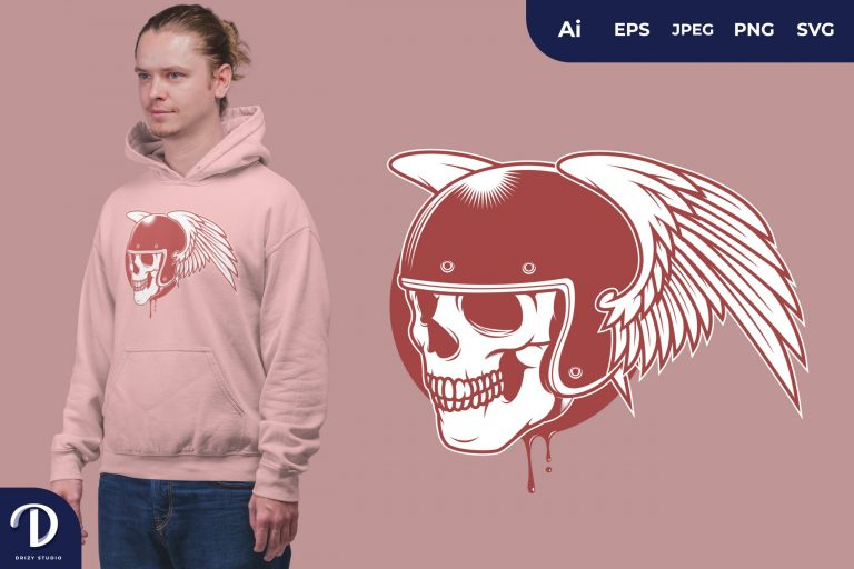 Wing Skull Rider for T-Shirt Design