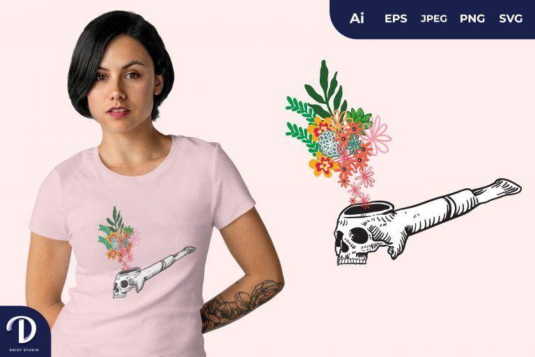 Jawless Skull Smoking Pipe for T-Shirt Design