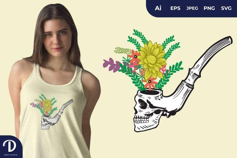 Skull Smoking Pipe for T-Shirt Design