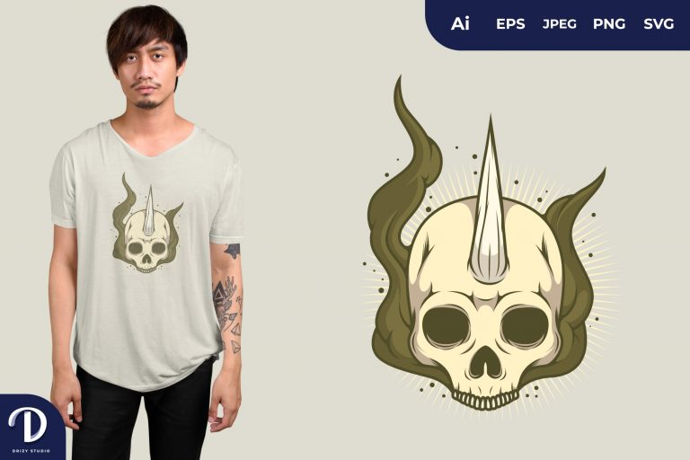 Jawless Skull with Unicorn Horn for T-Shirt Design