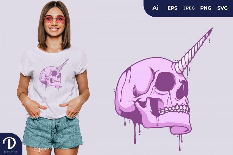 Pink Skull with Unicorn Horn for T-Shirt Design