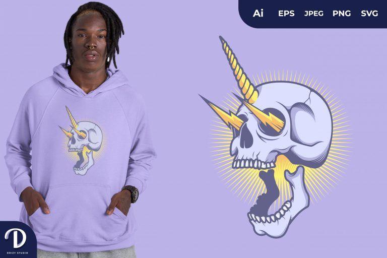 Skull with Unicorn Horn for T-Shirt Design