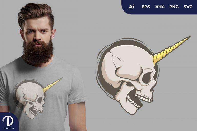 Skull with Yellow Unicorn Horn for T-Shirt Design