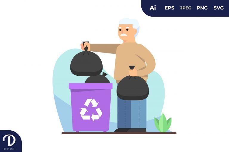 Preview image of Oldman Sorting Trash