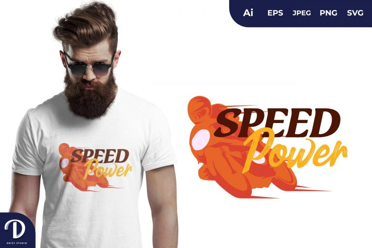 Orange Motorbike Speed Power for T-Shirt Design