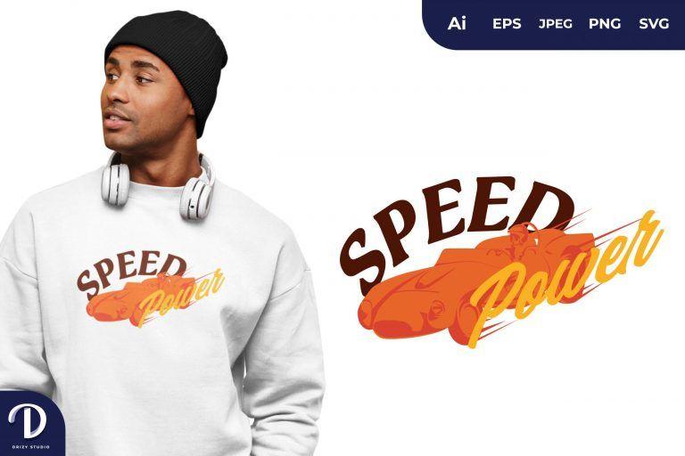 Orange Vintage Car Speed Power for T-Shirt Design