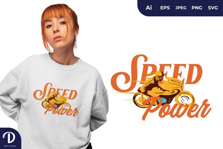 Yellow Motorbike Speed Power for T-Shirt Design