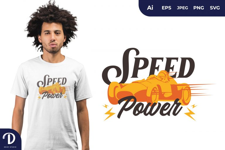 Yellow Vintage Car Speed Power for T-Shirt Design