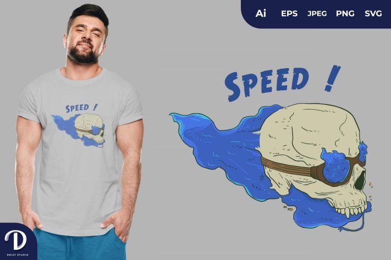 Blue Fire Speed Skull Head for T-Shirt Design