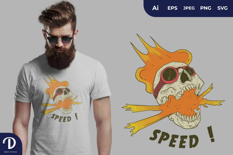 Preview image of Orange Speed Skull Head for T-Shirt Design