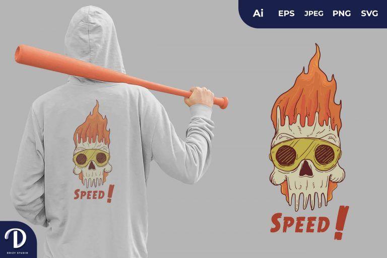 Red Fire Speed Skull Head for T-Shirt Design