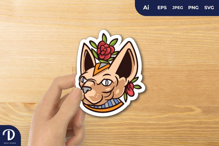 Sphynx Cat Pharaoh with Flowers for Sticker
