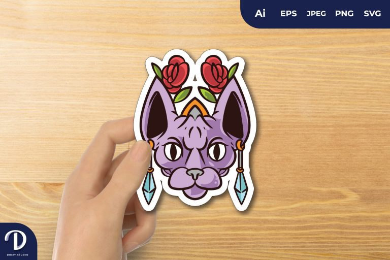 Purple Sphynx Cat Pharaoh with Flowers for Sticker