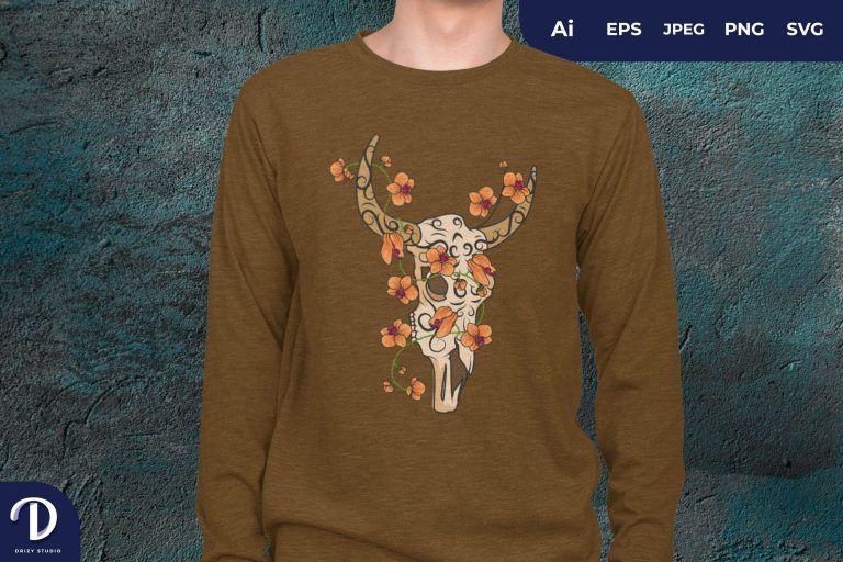 Sugar Skull Bull And Geranium Flower for T-Shirt Design