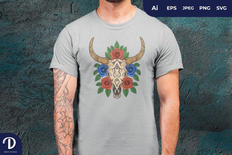 Sugar Skull Bull And Roses Flower for T-Shirt Design