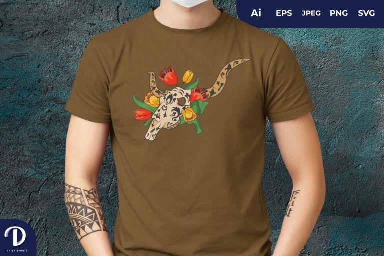 Sugar Skull Bull And Tulip Flower for T-Shirt Design