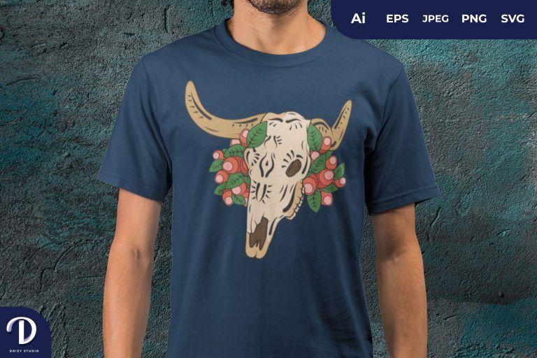 Sugar Skull Bull And Flower for T-Shirt Design