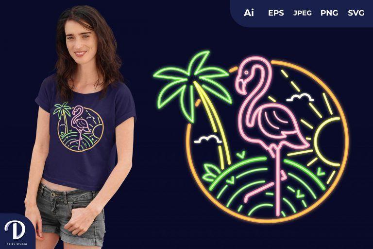 Flamingo Summer Neon for T-Shirt Design
