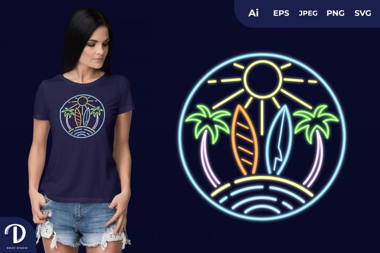 Preview image of Surfboard Summer Neon for T-Shirt Design