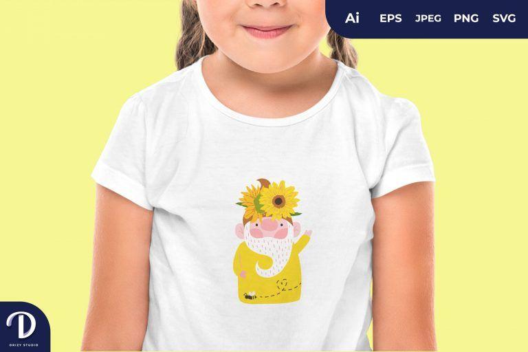 Sunflower Gnome for T-Shirt Design