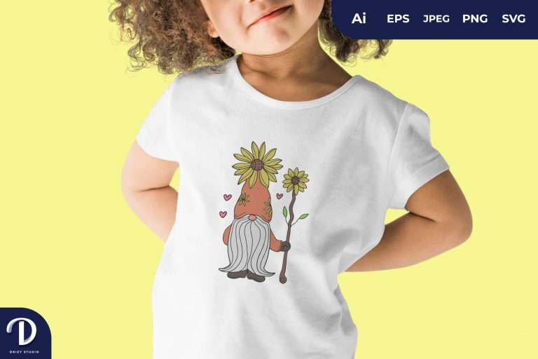 Preview image of Sunflower Gnome for T-Shirt Design