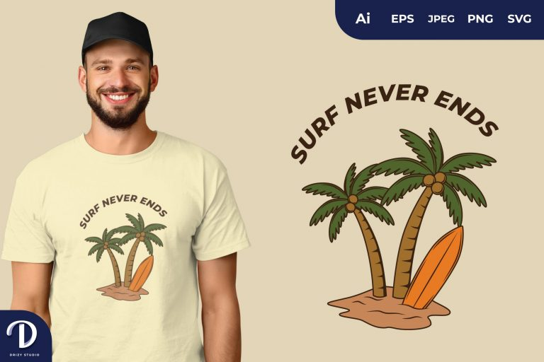 Surf Never Ends for T-Shirt Design