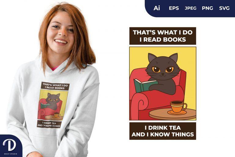 Black Cat Wisdom Quotes for T-Shirt Design