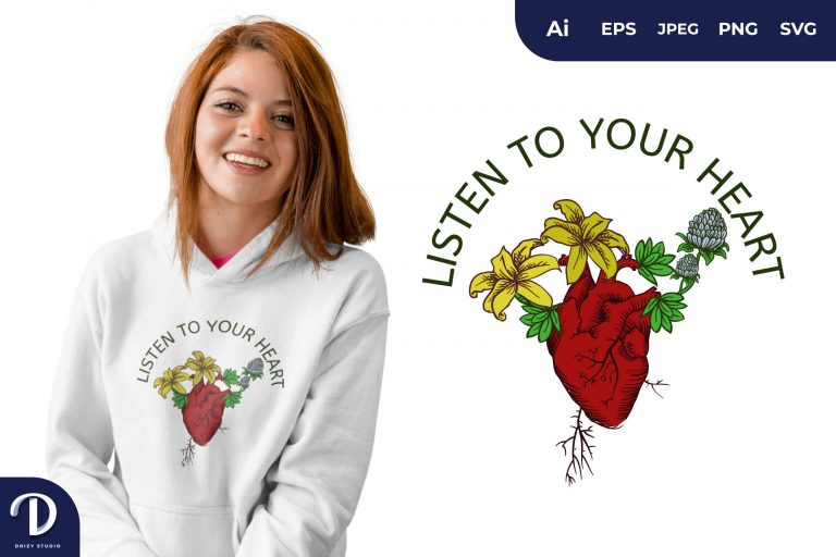 The Blooming Heart for T-Shirt Design