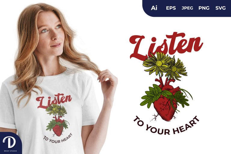 Preview image of The Blooming Heart for T-Shirt Design