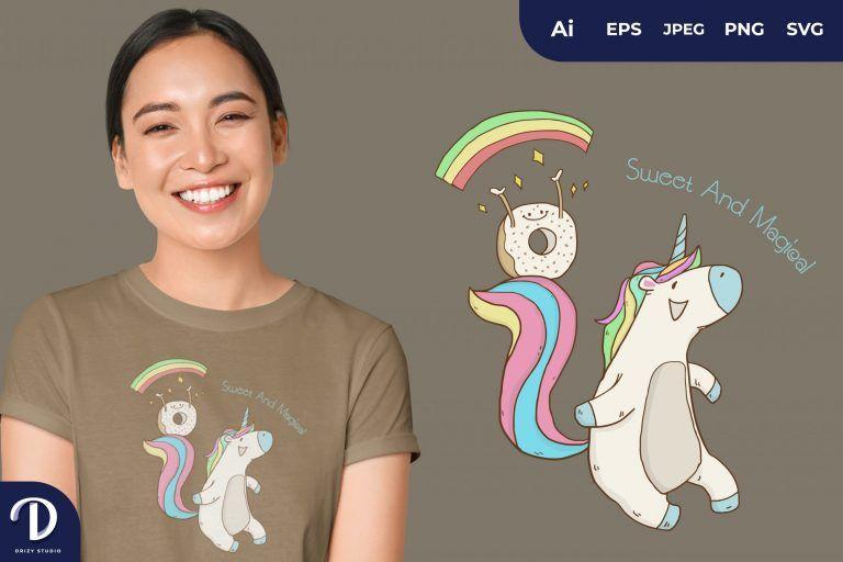 Rainbow Unicorn and Donut for T-Shirt Design
