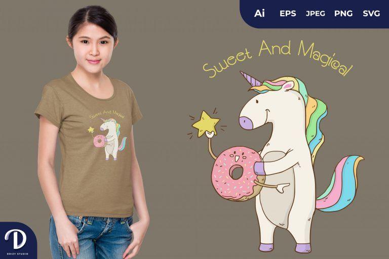 Taking Stars Unicorn and Donut for T-Shirt Design
