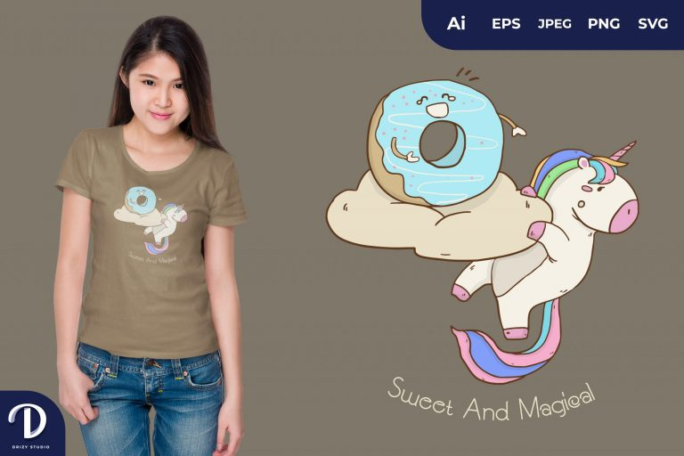 Preview image of Unicorn and Donut for T-Shirt Design