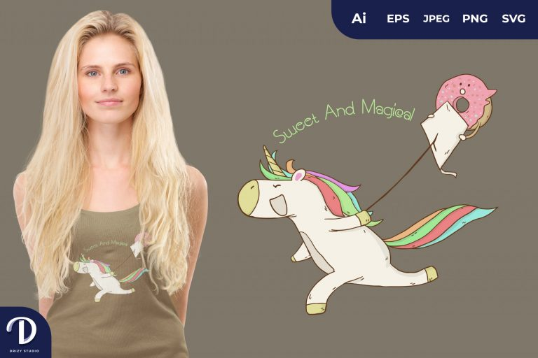 Playing Kites Unicorn and Donut for T-Shirt Design