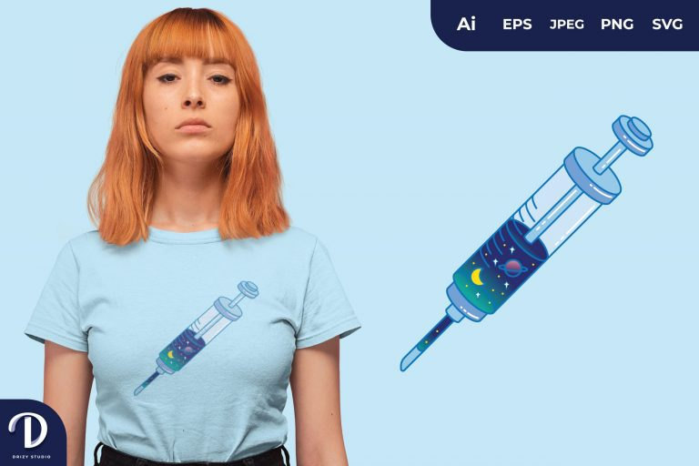 Blue Universe Injection for T-Shirt Design
