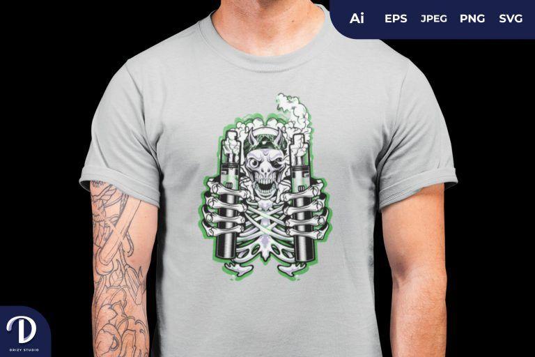 Vapor Skull for T-Shirt Design