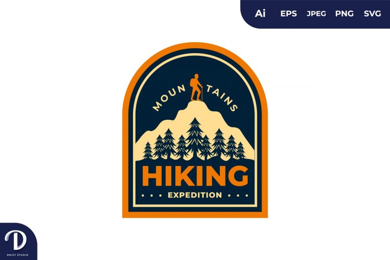 Mountain Hiking Vintage Camping and Adventures for Sticker