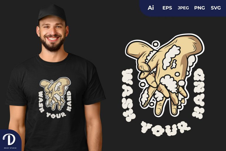 Clean Between Fingers WASH YOUR HAND for T-Shirt Design