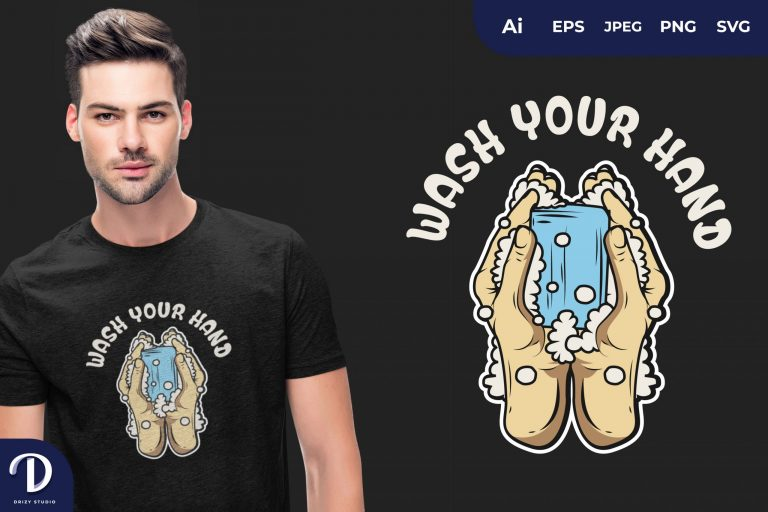 Blue Soap WASH YOUR HAND for T-Shirt Design